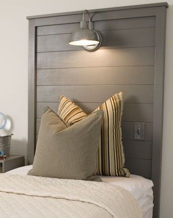 reclaimed wood headboard with light
