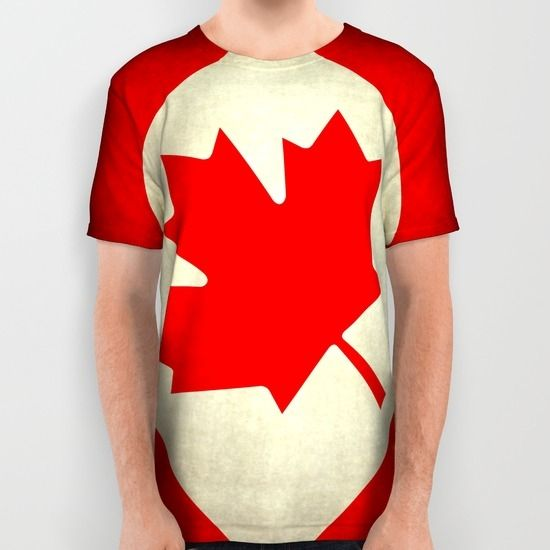 Canadian flag, vintage treated edition in square format to suit pillows, duvets, shower.....etc All Over Print Shirt by LonestarDesigns2020 - Flags Designs + | Society6 by Bruzer