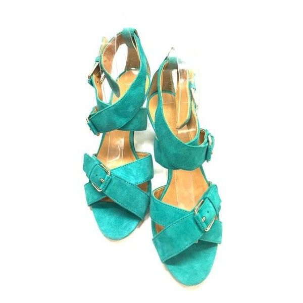 Pre-Owned J. Crew  Turquoise Suede Buckled Ankle-Strap Cage Heel... ($75) ❤ liked on Polyvore featuring shoes, sandals, blue, blue shoes, wrap around sandals, suede sandals, caged heel sandals and blue high heel shoes