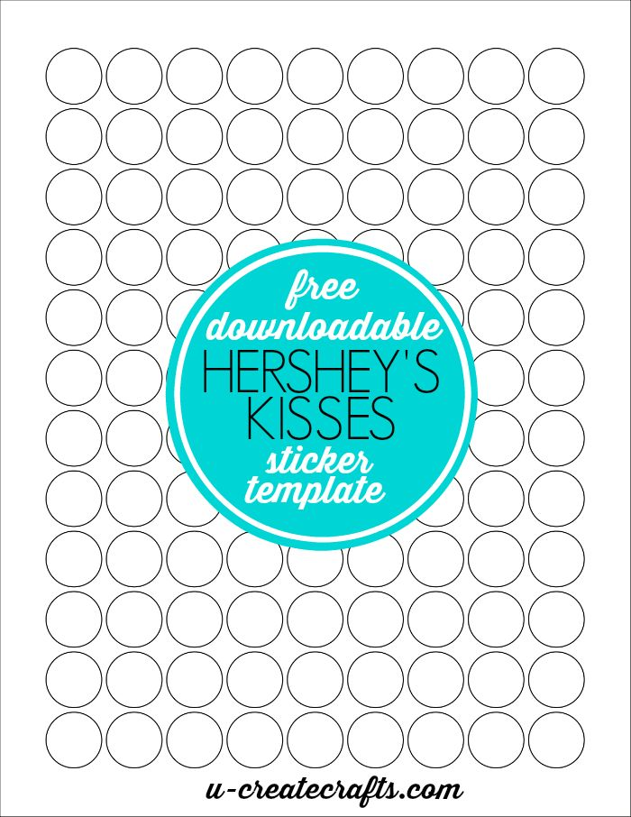 Free Downloadable Hershey's Kisses Sticker Template by U Create