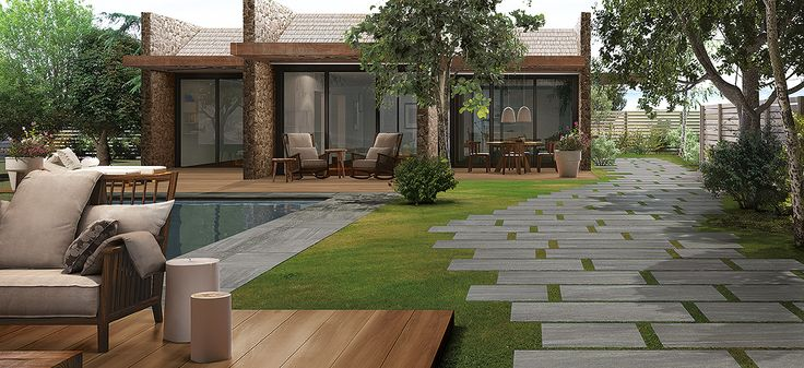 Thick porcelain tiles may be also installed on sand, grass lawn or gravel without adhesive.