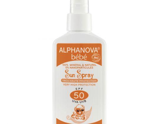 ALPHANOVA SUN – Protección Solar para Bebé SPF 50 Spray 125 ml.  Protector solar SPF 50 Bebé Spray. Alta protección solar para Bebés, sin nanopartículas, sin parabenos, sin filtros químicos, sin conservantes químicos y sin alcohol.