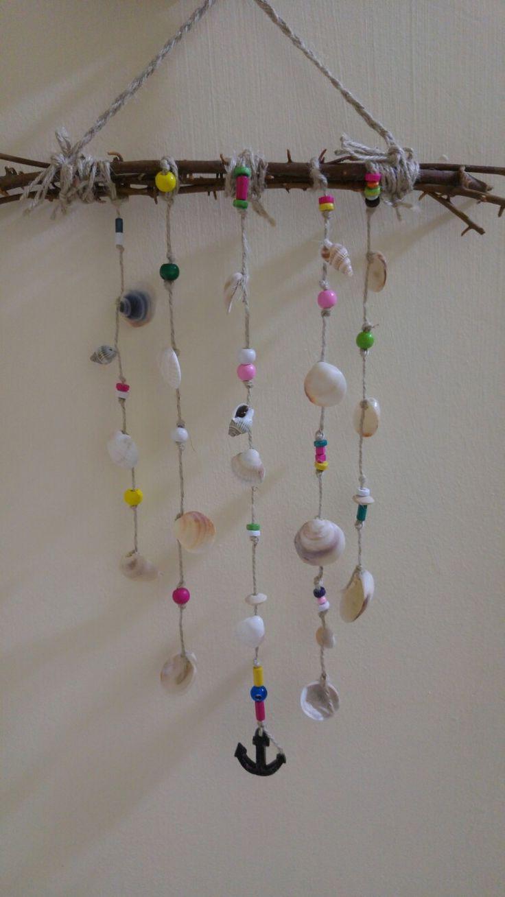Midye,boncuk,kuru dallardan dekorasyon :)