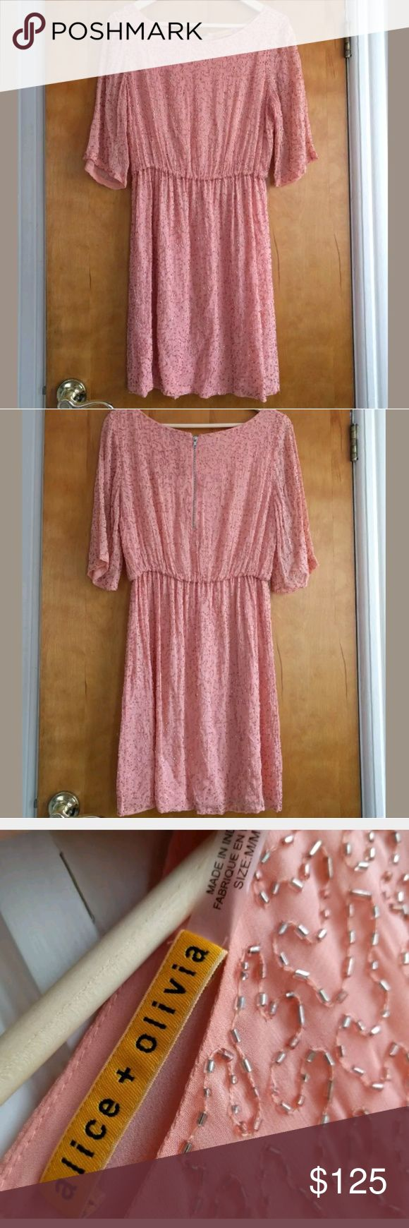 Alice + Olivia pink beaded dress M Gorgeous Alice+Olivia dress, size M  Pink with silver bugle bead design. Elastic waist, back zip. Perfect for wedding guest, cocktail, party. Lightly worn, lots of life left. Alice + Olivia Dresses Mini