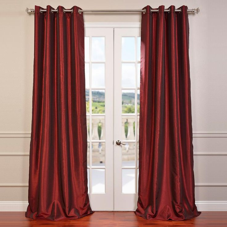 Exclusive Fabrics & Furnishings Ruby Red Grommet Blackout Vintage Textured Faux Dupioni Silk Curtain – 50 in. W x 108 in. L-PDCH-KBS5-108GR