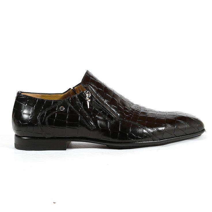 Cesare Paciotti Italian Mens Shoes Cocco Lux Black Crocodile / Leather Loafers (CPM2718)
