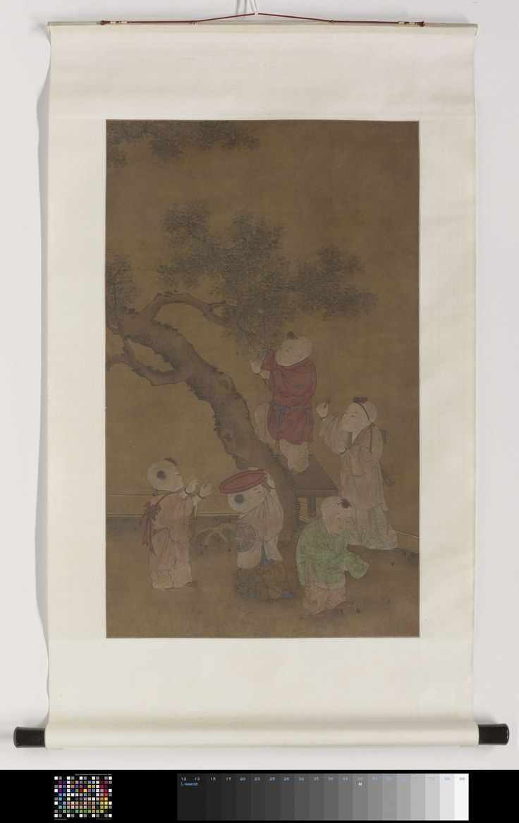 Anonymous   Rolschildering met een voorstelling van vijf jongens die dadelpruimen plukken, Anonymous, 1500 - 1625   Rolschildering met een voorstelling van vijf jongens die dadelpruimen plukken. Vrije kopie naar een anoniem werk uit de Song-periode in het Paleismuseum te Taipei.