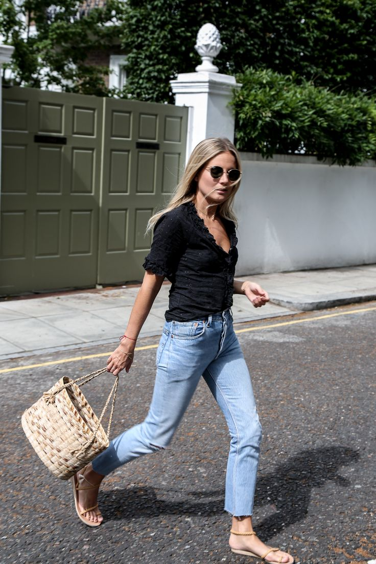 Black Shirt + Light Denim + Sandals