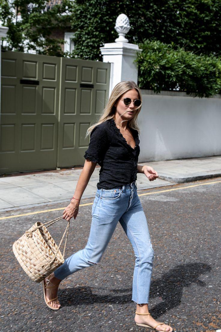 Black Shirt + Light Denim + Sandals