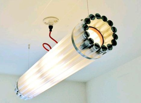 15 Recycled Lights and Lamps. This one makes sense: the light bulb light.