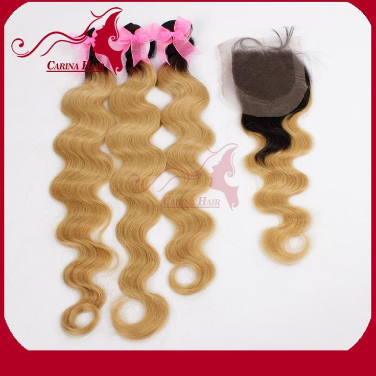 "Find More Hair Weft with Closure Information about Dark Roots Ombre Blonde Brazilian Hair Body  Wave 3pcs With Closure 1b/27 Free Shipping 8"" 30""Ombre Hair Extensions,High Quality hair extensions chocolate brown,China wave frequency Suppliers, Cheap wave bag from Natural Hair Crafts Factory on Aliexpress.com"