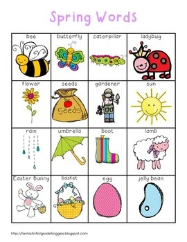 Writing Center Tools- Spring Words