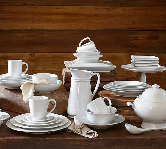 Great White Traditional Dinnerware | Pottery Barn Great White Traditional Dinnerware      Set Savings  reg. price $16 – $120 special $16 – $102