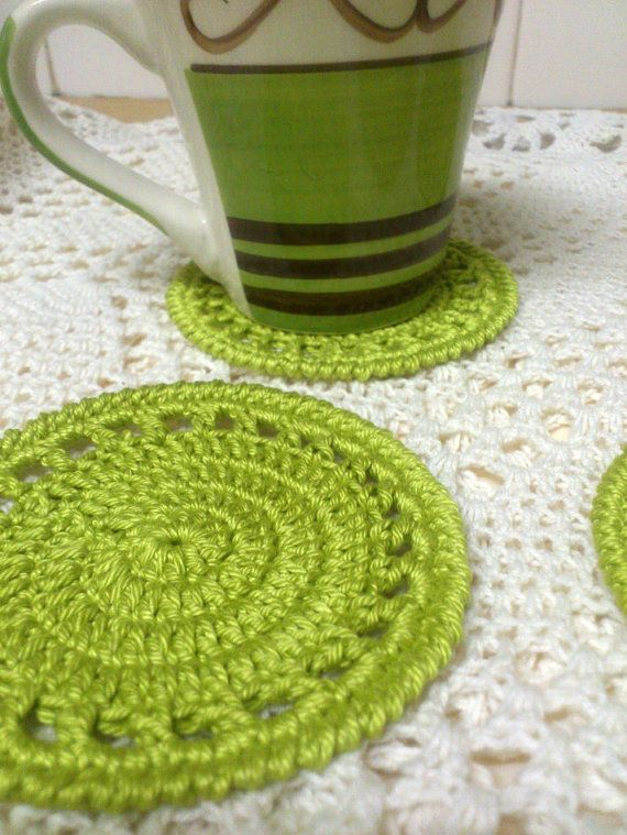Round Cotton Crochet Coasters set 4 by NiftyNadi on Etsy