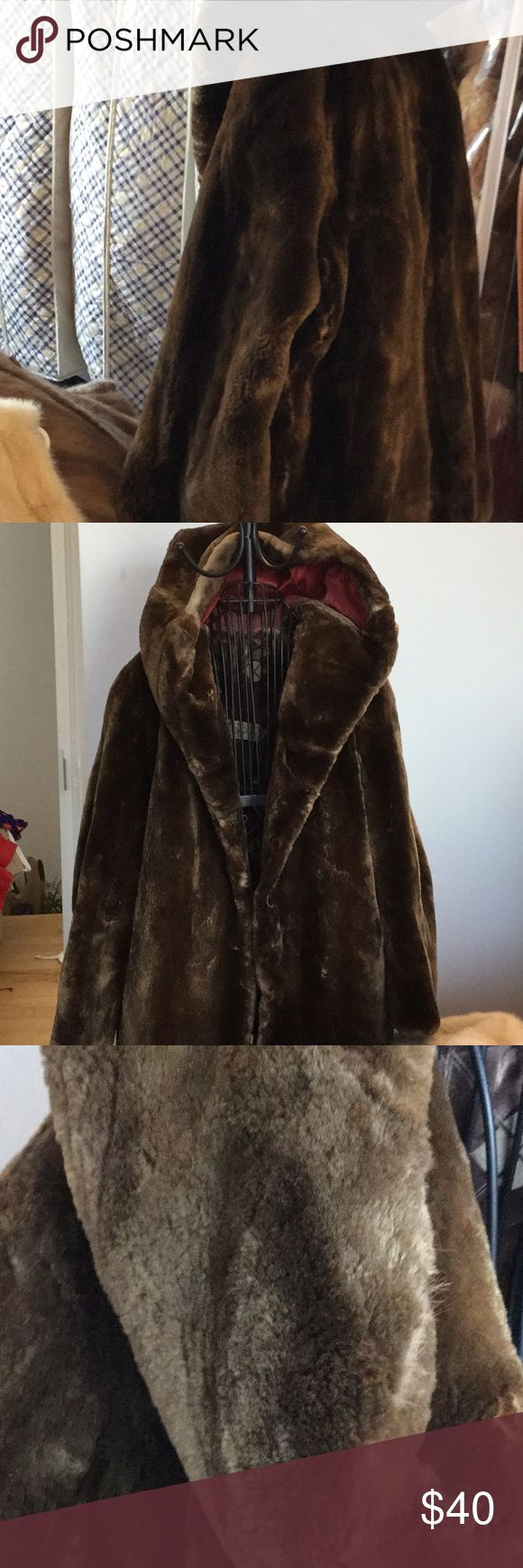 Sheared beaver vintage coat, L Fur soft, no shedding.  Down with cream colored undercoat and  cream colored areas. Pocket interior needs stitching. Some thinning of fabric inside at seams but not torn. Hooks to close, big hood.  NO odor. From France B Boutin Jackets & Coats