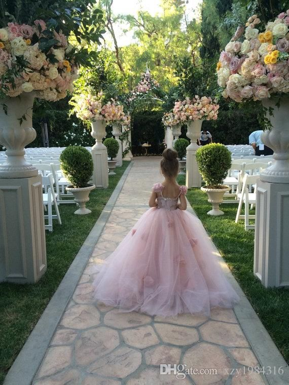The flower girl dresses black and white which match the flowers- blush pink flower girls dresses appliques spaghetti straps ball gown ruffles tulle pageant dresses for girls long girl dresses for wedding is offered in xzy1984316 and on DHgate.com flower girl dresses for kids along with flower girl dresses for sale are on sale, too.