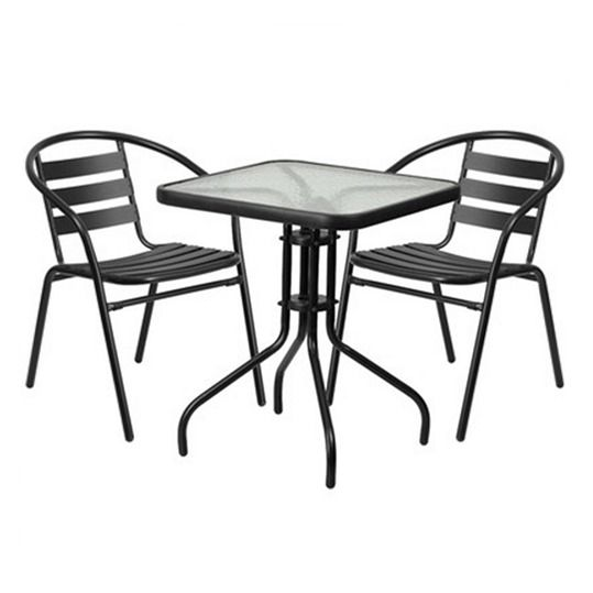 3 Piece Furniture Set Patio Outdoor Yard Square Table Glass Top Chair Chairs NEW #DinningSet