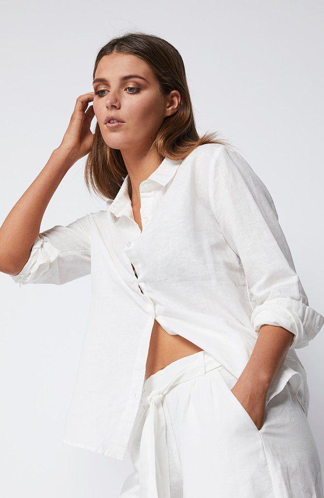 STAPLE THE LABEL - Ub1704403 Staple The Label Linen Shirt - White