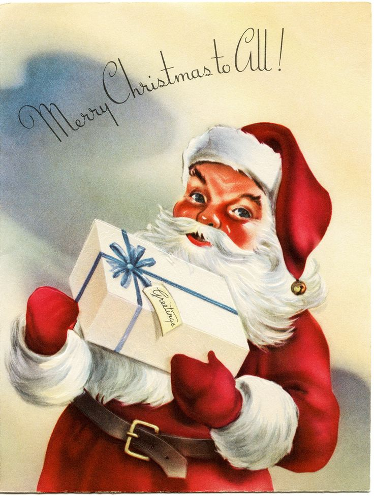 Old christmas cards art old fashioned christmas card for Santa cards pinterest