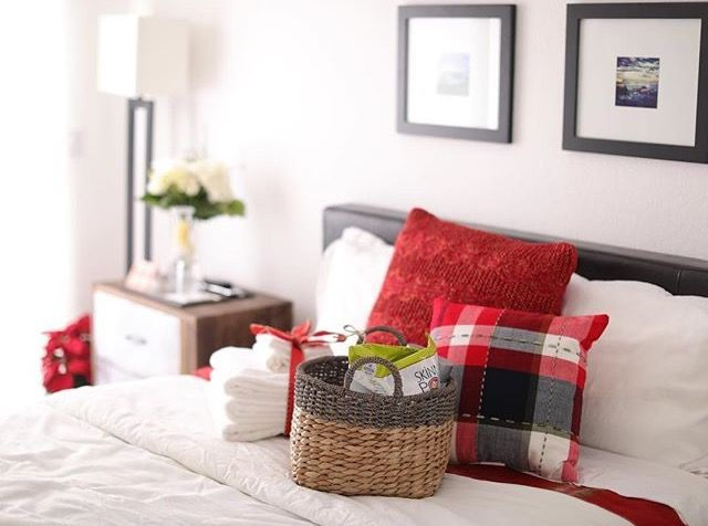 Cozy winter guest room at the Talbott house