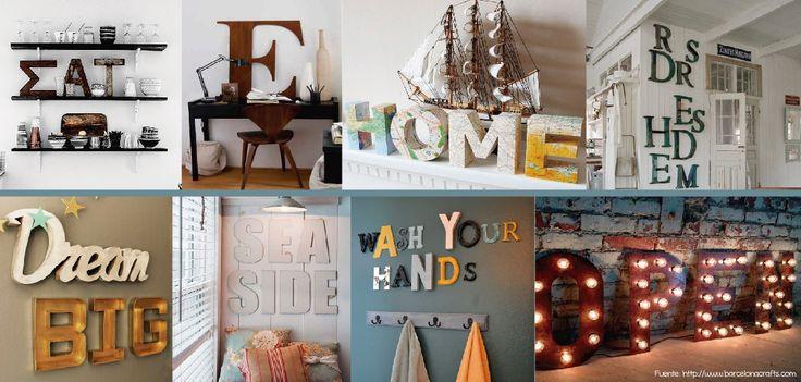 Letras corpóreas de diferentes tamaños y materiales se unen para formar palabras y ambientar cada espacio de forma única.