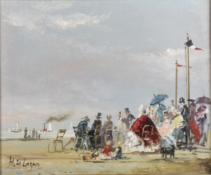 """Lot 440, H. St. Lazare, oil on canvas, signed, figures on a French beach with boats at sea 11 1/2"""" x 11 1/2"""", est £150-200"""