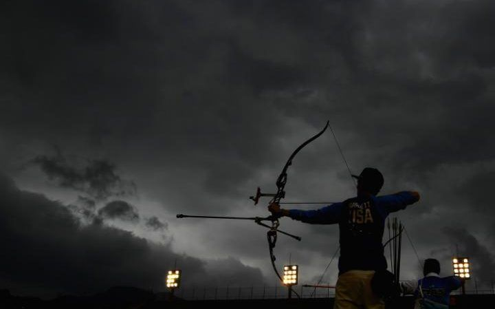 Zach Garrett of the United States of America warms up before competing in the Men's Individual round of 32 Elimination Round on Day 5 of the Rio 2016 Olympic