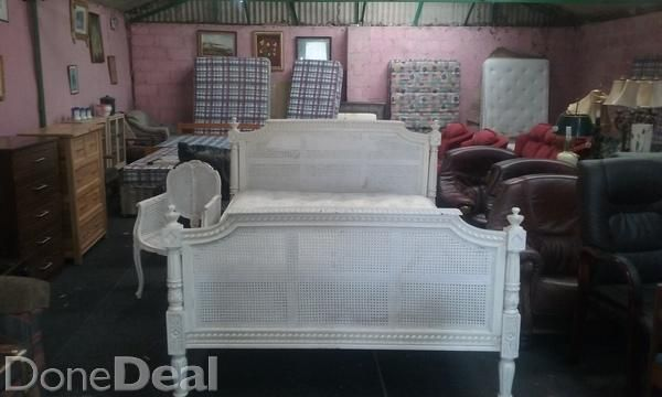 Selection  of quality antiques for saleKingsize white  wicker complete bed with chair e400 Chaise lounge e150 4 drawer antique  chest e60 Inlaid wall unit e400 Inlaid stand e150 Mahogany table