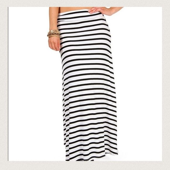 Black and white striped maxi skirt Fold over maxi skirt that's cute and in great condition! Worn only a couple times Skirts Maxi