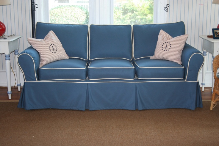 Sofa slipcover using sunbrella sapphire blue with vellum cording nautical and fun pillows too Blue loveseat slipcover