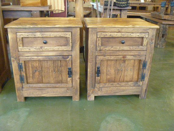 hidden gun reclaimed pallet wood nightstand by UpTheCreekRustic/ Nightstand measures  23 1/2 wide 19 deep 27 tall