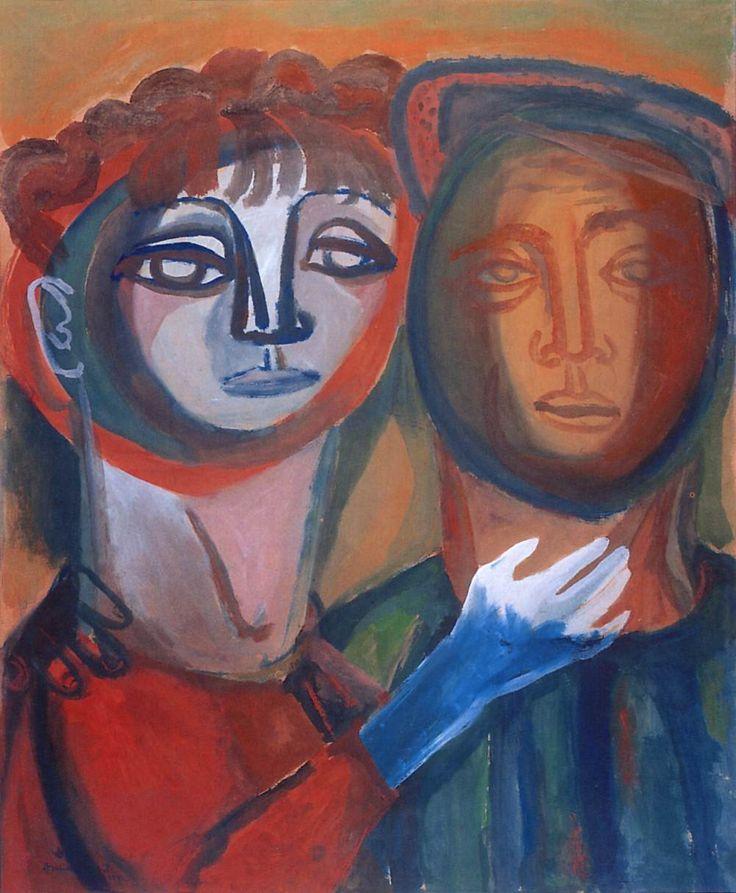 """blastedheath: """"Margit Anna (Hungarian, 1913–1991), Szerelem: Anna Margit - Amos Imre (Együttérzés) [Love: Margit Anna and Imre Amos (Sympathy)], 1942. Tempera on paper, 70 x 58 cm. """""""