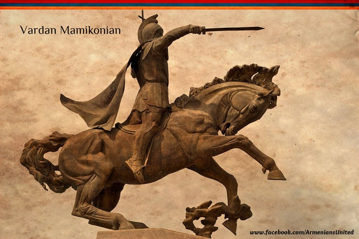 Vardan Mamikonian statue in Gyumri - Sword in one hand and a cross in the other. Vardan was an Armenian military leader, a martyr and a saint of the Armenian Church.The horse (front legs up) indicates Vartan died on the battlefield