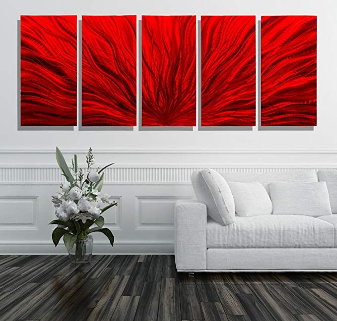 Extra Large Vibrant Red Contemporary Metal Wall Art Sculpture Multi Panel Abstract Wall Decor By Vertical Wall Art Wall Sculpture Art Abstract Metal Wall Art