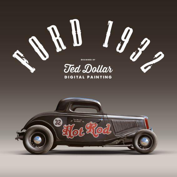 Hyper realistic digital painting Hot Rod 32 by Ted Dollar, via Behance #hotrod #painting #illustration #ford1932 #digitalart #sketch #custom #motorcycle #pinup #suicidegirls #rollerderby #garage #carbuilder