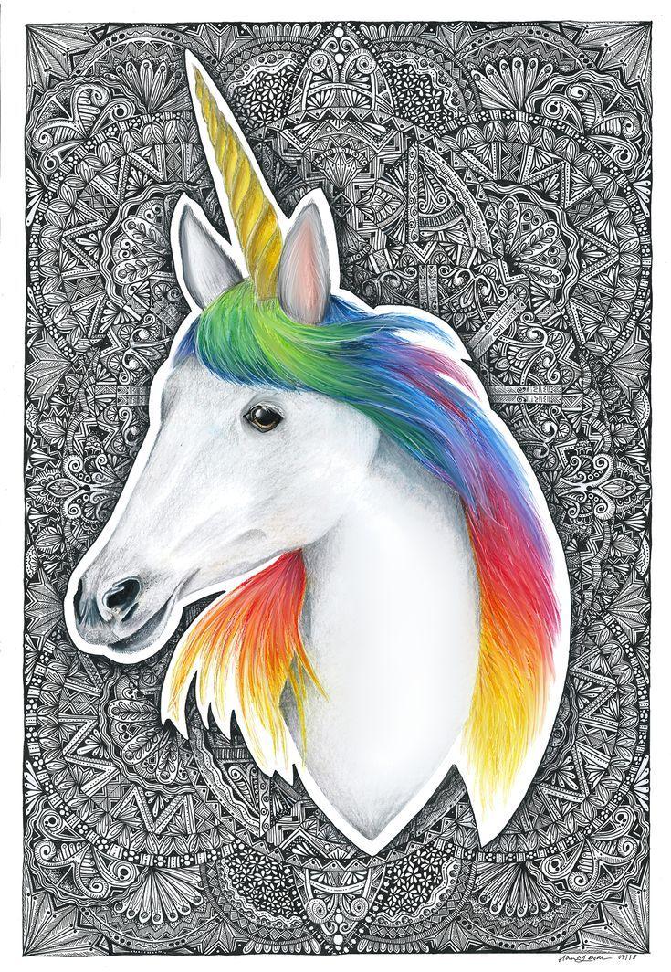 Einhorn Zeichnung Mit Mandalas Im Hintergrund Einhorn Mit Regenbogen Haaren Und Goldenen Horn Der H Animal Drawings Animal Illustration Drawing Illustrations