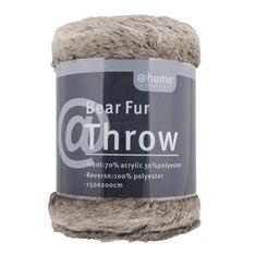 throw faux bear fur charcoal 150x200cm