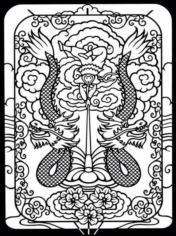 Marvelous Coloring Page Chinese Circus Monkey Boy And Dragons Example Taken From The Kites Stained Glass Book