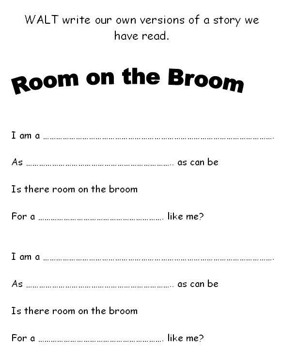 Writing frame - Room on the Broom - Simple writing frame for own version of a verse of the popular Julia Donaldson story.