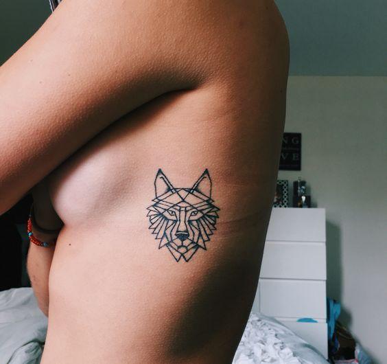 Small Geometric Wolf Side Boob Tattoo