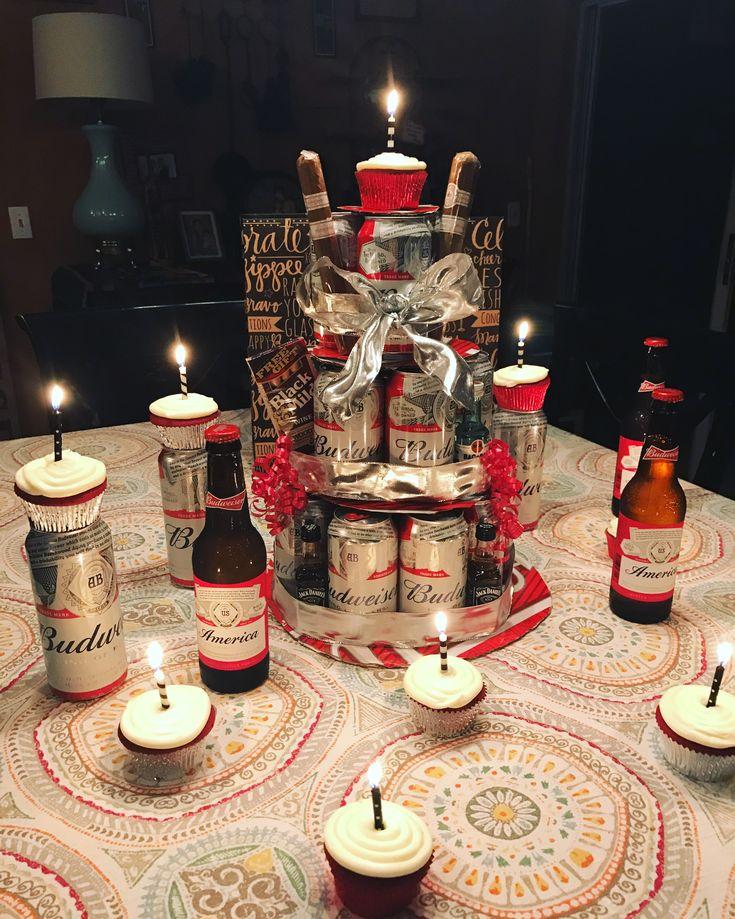 Budweiser cake  #beer #cake #budweiser #redvelvet #cupcakes #birthday #cigars #beercake