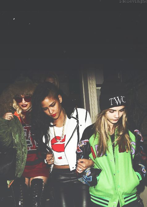 .I see Cassie and Rita Ora. Who's the one in green? UPDATE*** I now know that's Cara Delevigne and a apologize for being tardy to the party. She is a bad ass.