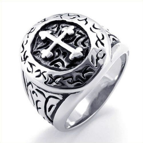 KONOV Jewelry Classic Vintage Cross Mens Ring, Stainless Steel Band, Silver, Size 9 - http://www.spiritualgemstonejewelry.com/konov-jewelry-classic-vintage-cross-mens-ring-stainless-steel-band-silver-size-9/