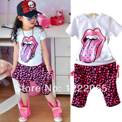 2014 New Kids girls summer short-sleeved + pants suit cartoon tongue dot harem pants casual pants suit baby's clothes free ship