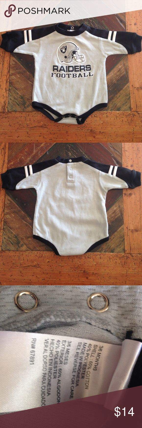 NFL Raiders Onesie NFL, gray and black onesie, 3/6 mo. Pre-loved, no seen flaws. NFL One Pieces
