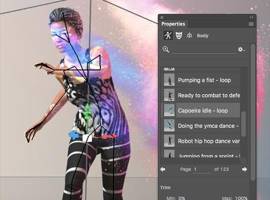 Pose and animate your characters in Photoshop CC using simple sliders in the enhanced 3D panel.