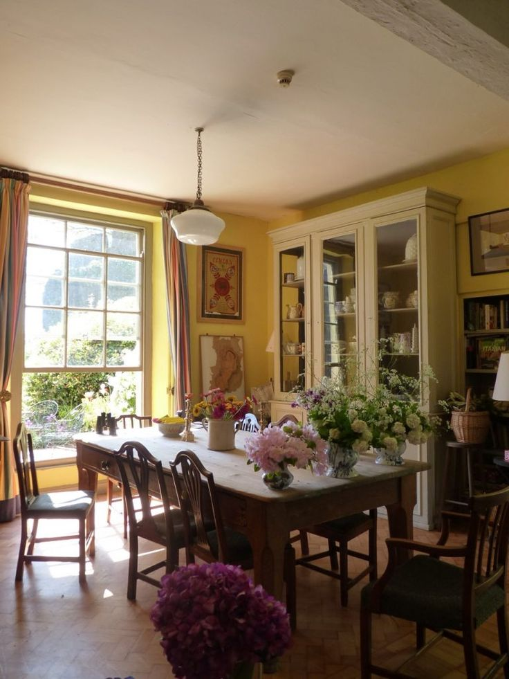 Dining Room With Beautiful China Cabinet And Built In Bookcase