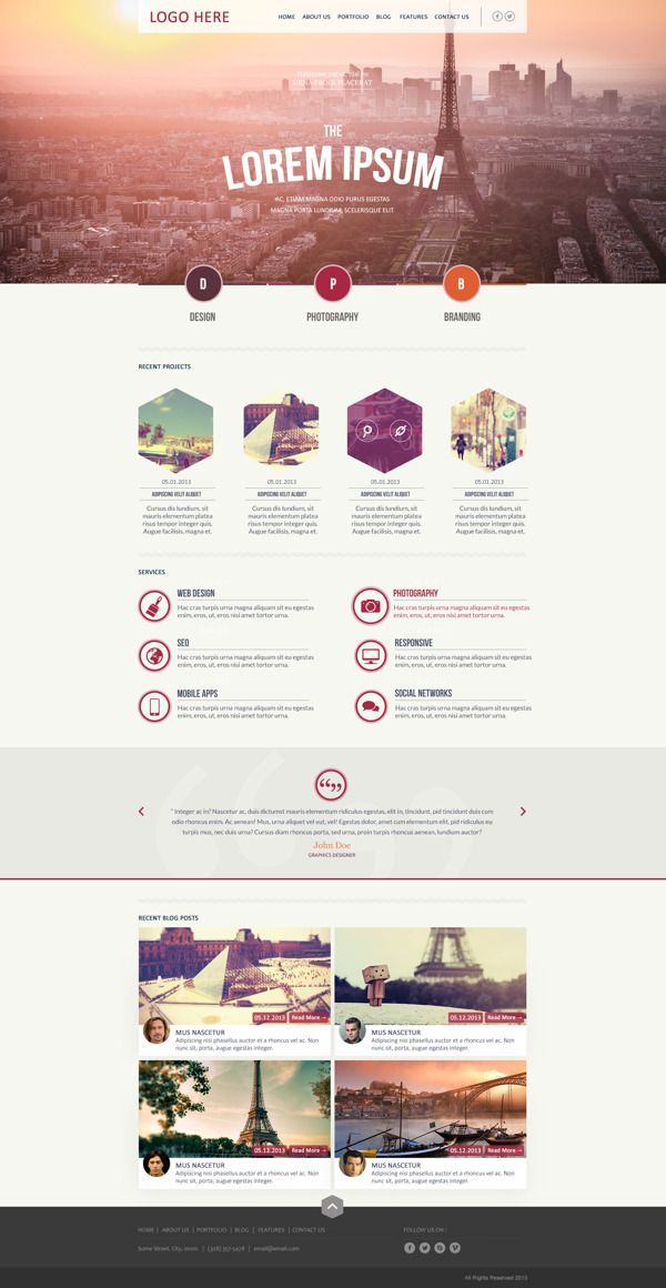 Hexagonal - Unique Business & Portfolio Template by Zizaza - design ocean , via Behance