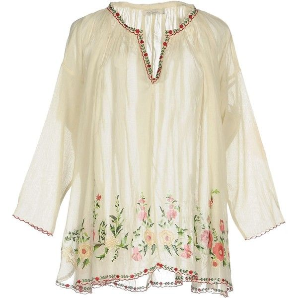 Mes Demoiselles Blouse (665 BRL) ❤ liked on Polyvore featuring tops, blouses, beige, long sleeve tops, beige blouse, long sleeve ruffle blouse, cotton blouse and embroidered top