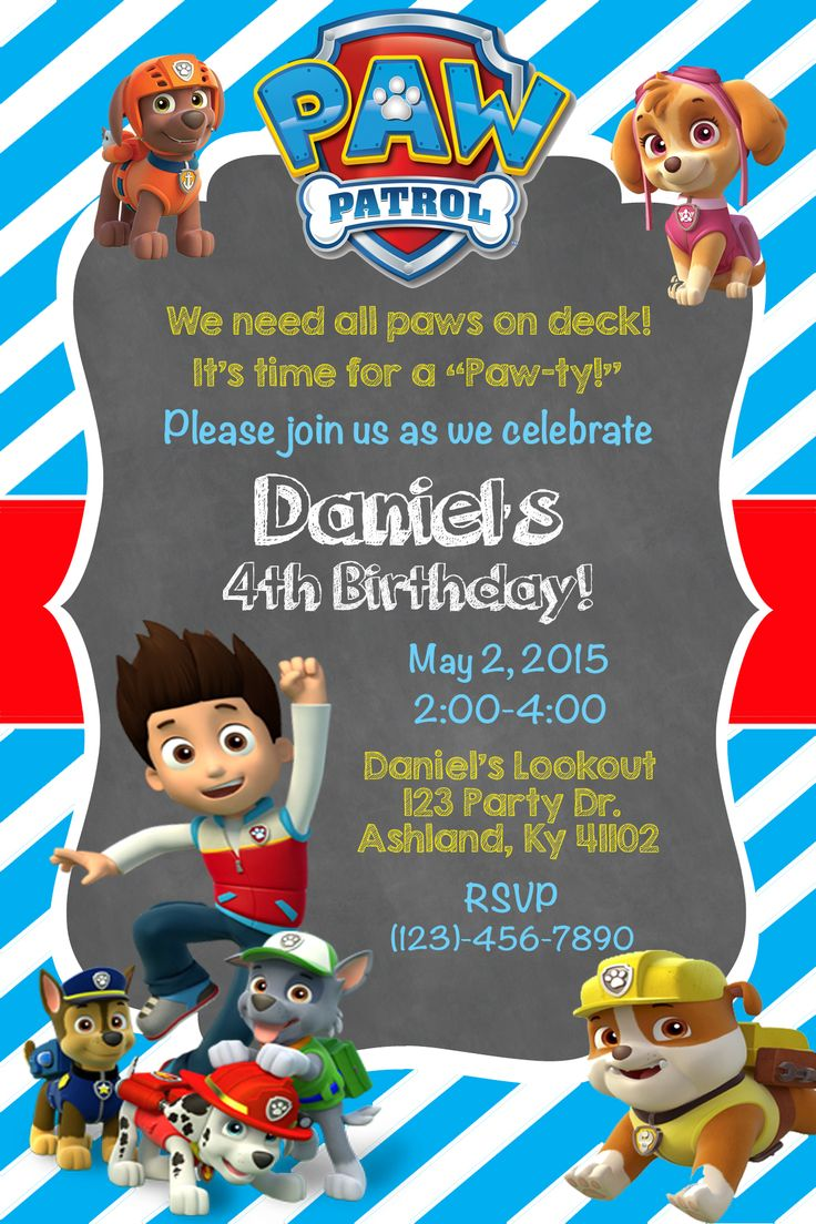 Paw patrol invite shown in light blue 1000 birthday for Paw patrol invitation ideas